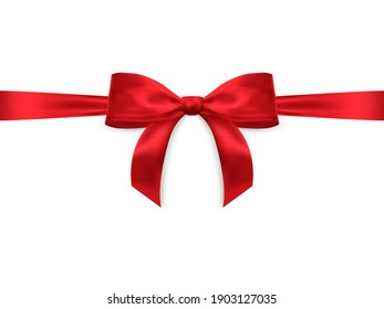 Realistic vector bow isolated on white background. Red gift bows for cards, presentation, valentine's day, christmas and birthday illustrations.