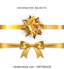 Realistic vector bow isolated on white background. Golden gift bows for cards, presentation, valentine's day, christmas and birthday illustrations.