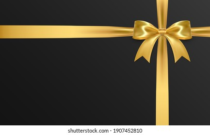 Realistic vector bow isolated on black background. Golden gift bows for cards, presentation, valentine's day, christmas and birthday illustrations.