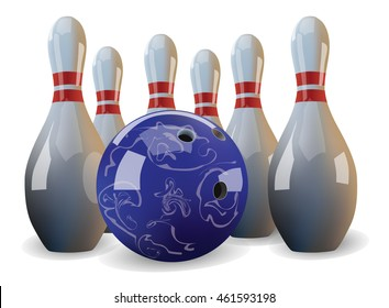 Realistic vector bowling ball and six pins.
