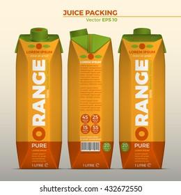 Realistic vector. Branding Design Packaging. Orange juice. Template Packaging Design orange juice. Summary Brand of orange juice. juice box.