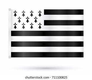 Realistic vector breton flag