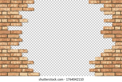 Realistic Vector broken brick wall horizontal transparent background. Hole in flat bown wall texture. Yellow textured brickwork for print, design, decor, background.