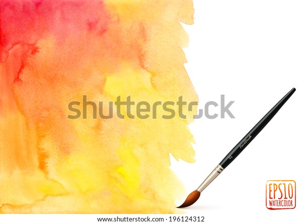 Realistic vector brush on orange watercolor background