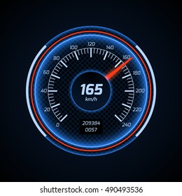 Realistic vector car speedometer interface. Dashboard panel for transport automobile illustration