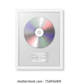 Realistic vector cd and label in glossy white frame icon closeup isolated on white background. Single album disc award. Design template. Stock vector mockup. EPS10 illustration.