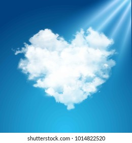 Realistic vector cloud heart on beautiful blue sky with sun. Flare, sunshine.
