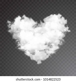 Realistic vector cloud heart. Transparent background.