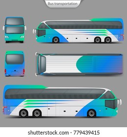 Realistic vector coach bus mockup, rear, front, top, side view. Detailed passenger transport, travel vehicle. City bus, ready corporate identity template for branding, advertising design.
