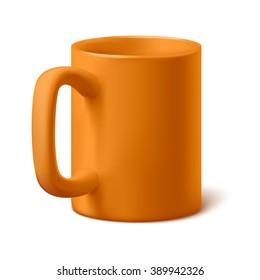 Realistic vector coffee or tea orange cup. Classic office mug.