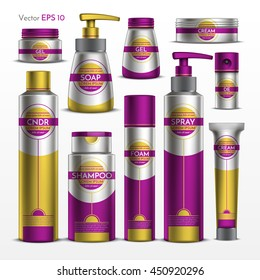 Realistic vector. Collection of cosmetics for body care. Template package shampoo, shower gel, soap, moisturizer. Design magenta