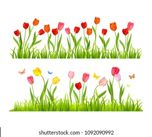 Realistic vector colorful tulips set. Spring flowers and grass background. Seasonal banner isolated