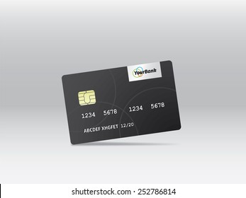 Realistic vector credit card. Business and finance.
