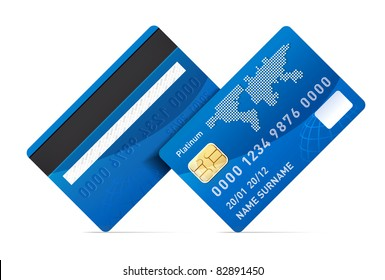 Realistic vector credit card isolated on white background. Rotating 45 degree