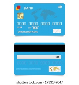 Realistic vector Credit Card two sides, blue. Shopping discount plastic card. Vector