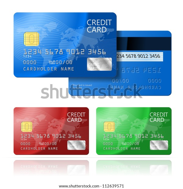 Realistic vector Credit Card two sides, blue, green, red