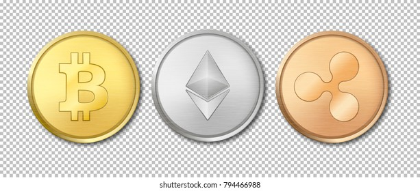 Realistic vector crypto currency coin icon set. Bitcoin, Etherium, Ripple. Blockchain technology. Closeup isolated on transparency grid background. Design template for graphics. Top view