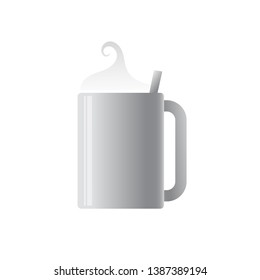 Realistic vector cup for coffeee or tea or some hot drink, vector illustration isolated on white background