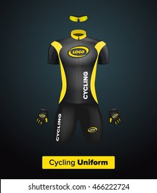 Realistic vector cycling uniform template. Black and yellow. Branding mockup. Bike or Bicycle clothing and equipment. Special kit - short sleeve jersey, gloves and sunglasses. Front view