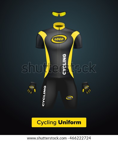 Realistic vector cycling uniform template. Black and yellow. Branding mockup.  Bike or Bicycle 960d6f910