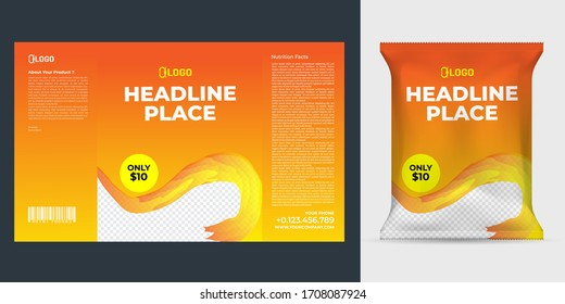 Realistic vector design Potato chips packaging template.