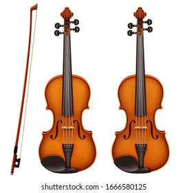 Realistic vector detailed violin with fiddlestick isolated on a white background. Classical stringed musical instrument with wooden texture. Layout design for banners and presentations