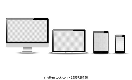 Realistic vector. Device set: monitor laptop, tablet and phone template