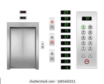 Realistic vector elevator door and buttons, up and down arrows with floor indicator. Metal or steel closed lift door and panel with green and red lights, panel and display. Gate for building interior