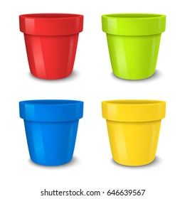 Realistic vector empty flower pot set, bright colors - red, green, blue and yellow . Closeup isolated on white background. Design template for branding, mockup. EPS10.