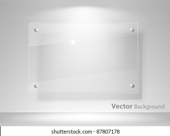 Realistic vector empty glass frame on a wall with lights for images and advertisement. Fully editable eps10