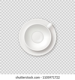 Realistic vector empty tea coffee cup top view. Clean white shiny empty cup mockup on transparent background.