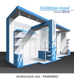 Realistic vector. Exhibition stand design blue template. Poster, banner