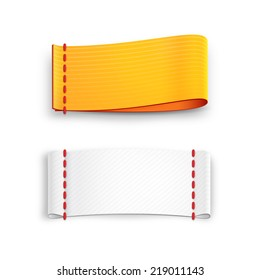 realistic vector fabric labels with stitching isolated on white background