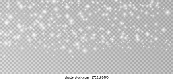 Realistic vector falling snow fall overlay. png shining snowflakes background for Christmas banner of winter collection decoration isolated on transparent. Stock vector