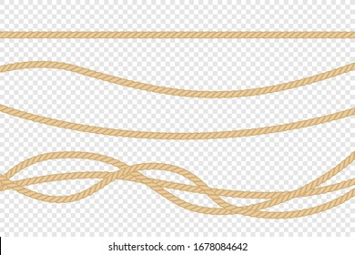 Realistic vector fiber ropes isolated on transparent background.