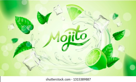 Realistic vector fresh mojito party illustration for package design, banner, label, poster and flyer. Flying mint leaves, ice cubes and lime in water. Cool summer cocktail