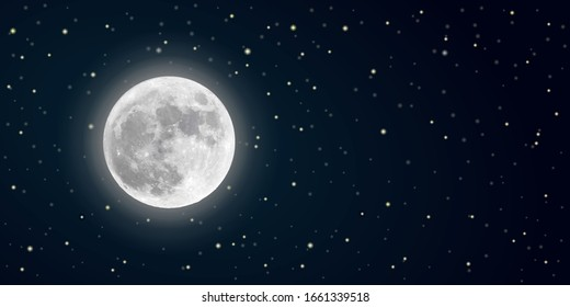 realistic vector full moon in the starry sky in the dark. banner with highlighted place for text