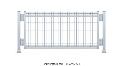 Realistic vector galvanized sheet metal fence panel. Rectangular steel mesh V type.