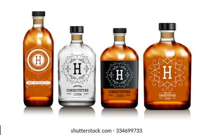Realistic vector glass bottles for alcohol such as vodka, cognac, whiskey. Red and transparent packing for alcoholic beverages with sticker, label. Mock up.