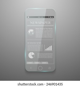 Realistic vector of glass smartphone.