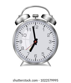 Realistic vector glossy metal alarm clock on a white background