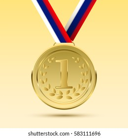 Realistic vector gold medal on Russian flag ribbon.Winner simbol.  Vector illustration.