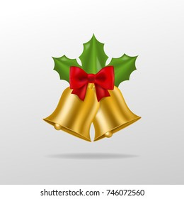 realistic vector golden christmas bell isolated holidays decoration - Christmas Bell