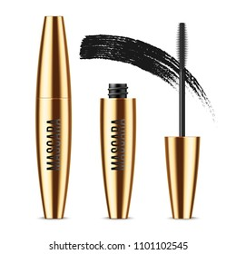 Realistic vector golden Mascara Bottle, brush and mascara Brush Strokes. Black wand, strokes and tube Isolated on white background. Fashionable cosmetics Makeup for Eyes.