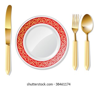 Realistic vector golden spoon, fork and table knife with plates.