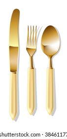 Realistic vector golden spoon, fork and table knife.