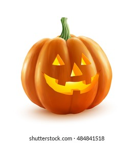 Realistic vector Halloween pumpkin with candle inside. Happy face Halloween pumpkin isolated on white background.
