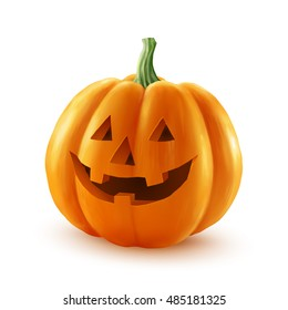 Realistic vector Halloween pumpkin. Happy face isolated on white background.