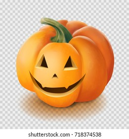Realistic vector Halloween pumpkin. Smile face isolated on transparency grid background. Jack o lantern hyperrealism illustration.