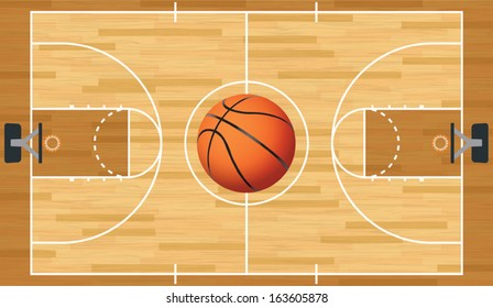 A realistic vector hardwood textured basketball court with basketball in the center court. EPS 10. File contains transparencies.